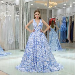 $enCountryForm.capitalKeyWord Australia - Floral Print Elegant Prom Dresses Ball Gown V Neck vestidos formatura Gala Dress Long Party Evening Gowns Floor Length Unique Design 2019