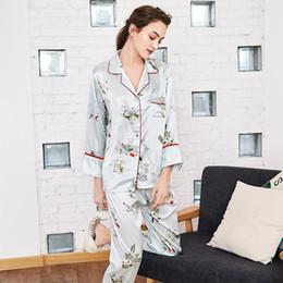 bb09af8183 HOT Silk Nightwear Ladies Pajama Set Women Sexy V-neck Tops + Long Pants  Printed Nighties Sleepwear Home Wear autumn