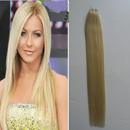 $enCountryForm.capitalKeyWord Australia - 100g(40pcs) skin weft tape hair extensions 40pcs lot chengfa hair brazilian Straight 613 Bleach blonde hair products