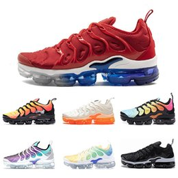 PoPular trainers online shopping - New Popular VM TN Plus BE TRUE mens running shoes White Orange Volt Hyper Blue trainers sports shoes sneaker