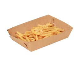 China 500pcs Cardboard Food Tray Hot Dog French Fries Plates Dishes Food Packaging Box Disposable Dinnerware Tableware free shipping suppliers