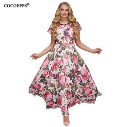 white dress big floral print 2019 - 2018 6XL Plus Size Summer Lady Maxi Dress Floral print Chiffon boho style vestido Elegant Beach Long Dress Big Size Dres