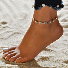 18k anklets Canada - Fashion Women Crystal Chain Anklets Gold Silver Color Boho Summer Simple Anklet Strap Bracelet Bohemian Foot Jewelry Gifts