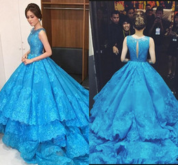 $enCountryForm.capitalKeyWord NZ - Michael Cinco Blue Prom Dresses 2019 Scoop Sequins Lace Appliques Tiered Evening Gowns Sleeveless Back Hollow Chapel Train
