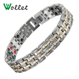$enCountryForm.capitalKeyWord NZ - Wollet Jewelry Magnetic Stainless Steel Gold Bracelets Bangles for men 5 in 1 Infrared Ions Tourmaline Germanium Healing Care Y1891908