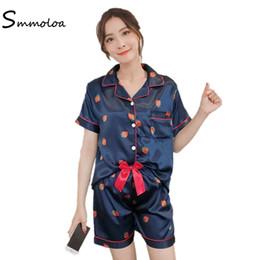 b38712e3719 wholesale Silk Pajamas Shorts Set Sexy Summer Cute Print Pyjamas Set Satin  Sleepwear