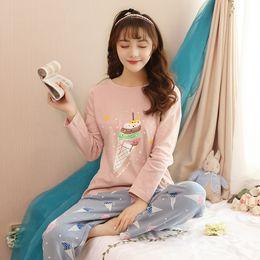 c98a721e1c 100% Cotton Cute Girls Cartoon Pajamas Sets for Women 2018 Autumn Winter  Long Sleeve O-Neck Pyjama Homewear Lounge Home Clothing