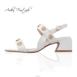 White Leather Shoes For Women NZ - Arden Furtado 2018 summer genuine leather buckle strap white sandals shoes for woman ladies sandals skull chunky heels 5cm shoes