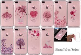 cherry blossom iphone Canada - Luxury Soft TPU Case For Iphone X 8 7 PLUS I7 6 6S I6 SE 5S 5 5C Ipod Touch 6 Cherry Blossom Rubber Transparent Tree Rabbit Skin Cover 15PCS