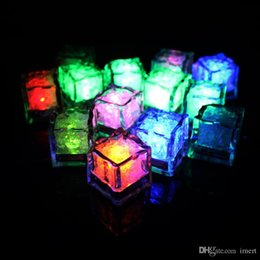 glow party decorations UK - 12pcs lot LED Night Light ice cube Decorati Beautiful Glowing Ice Cube lighted Ice Led Wholesale For decoration mariage
