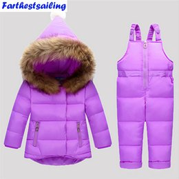 Discount overalls suit girls - Down Jacket For Girls Snowsuit Winter Overalls For Boy Children Warm Jackets Toddler Outerwear Baby Suits Coat + Pant Se