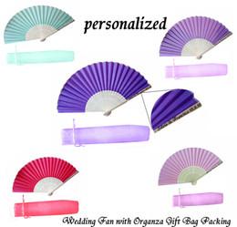$enCountryForm.capitalKeyWord Australia - 50pcs Personalized Wedding Silk hand fan Silk Wedding Fan with Organza Gift Bag Packing