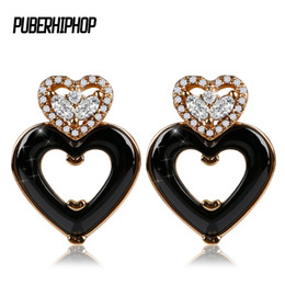 $enCountryForm.capitalKeyWord UK - New Rose Gold Love Heart Stud Earring for Women Black Withe Ceramic Ear Earrings Bling Crystal Accessories Birthday Jewelry