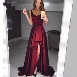 $enCountryForm.capitalKeyWord NZ - Front Short Back Long Burgundy Prom Dresses 2019 New Hot Selling Custom Pleats Spaghetti Strap Sexy High Low Formal Evening Party Gowns P023