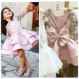 short wedding dress quarter sleeves Australia - 2019 O-Neck Short Flower Girls Dresses For Weddings Quarter Sleeves Appliques Layered Satin First Communion Dress Bow Girls Pageant Gowns