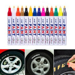 Wholesale black films online shopping - Colorful Waterproof Pen Car Tyre Tire Tread CD Metal Permanent Paint markers Graffiti Oily Marker Pen Car Styling