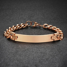 $enCountryForm.capitalKeyWord NZ - Rose Golden Cuban Chain Link Id Name Tag Bracelet Stainless Steel Engravable Inspiration Friendship Couples Jewelry His & Hers