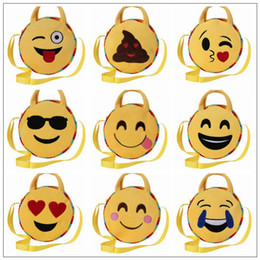 Face tote online shopping - 10 Styles Cute Kawaii Round Emoji Kids Plush Bags Bag Face Expression Mini Crossbody Handbags Kindergarten Baby Shoulder Bag CCA8527