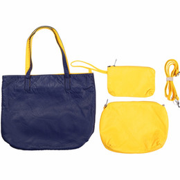 Nude color leather haNdbag online shopping - 3Pcs Bag Tote Brand New Women s Handbags Hit color Soft Leather Tote Shoulder Bag Multifunction Crossbody bag Big Purse