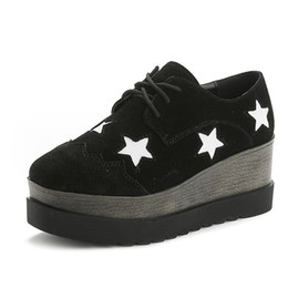 2bdec1b029c40 Round Toe Women's Oxfords Shoes Lace Up Faux Suede Star Causal British Style  Retro Oxfords Shoes for Women Flats Creepers