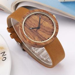 men simple style watch 2019 - Elegant Women Watch Wood Watch Men Leather Band Simple Style Casual Quartz Wooden Men Wrist Women Gifts relogio masculin
