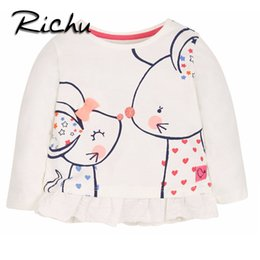 Chinese  Richu full sleeve t-shirt baby girl kids tops bobo clothes for girls t 2dshirt children blouse flower costume 2 3 4 5 6 7years wholesale manufacturers