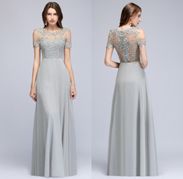 1131a7cb072 Short beaded brideSmaid dreSS online shopping - Short Sleeves Chiffon Long  Evening Dresses Sheer Tulle Lace
