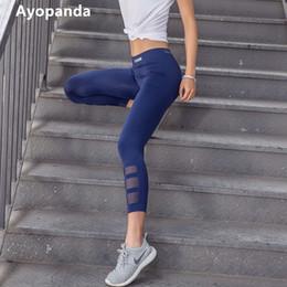 Yoga Pant Capri NZ - Ayopanda High Quality Reflective Running Tights For Women Hollow Out Mesh Capri Quick Dry High Waist Slimming Yoga Pants Legging