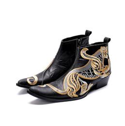 Italian Shoe Boots Men Australia - 2018 Fashion Luxury Men Boots Genuine Leather Ankle Boots for Men Italian Business Dress Shoes Slip-On Cowboy Boots