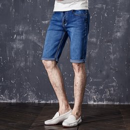 lightweight jeans men Canada - Summer Men Jeans Stretch Skinny Pleated Washed Casual Solid Men Denim Jeans Straight Lightweight Knee Length Male Quality