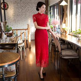 3f5dcc7af8 New Red Chinese Style Bride Bridesmaid Dress Elegant Women Lace Sexy  Cheongsam Vintage Mandarin Collar Slim Qipao M-XXL