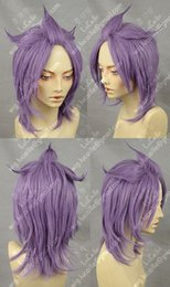 Glass wiG heads online shopping - STAR DRIVER Short Head Cosplay Thin glass purple Wigs