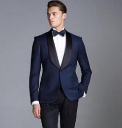Shining Suits NZ - Latest Men Suits Navy Blue Shawl Lapel Formal Blazer Custom Tuxedo Shining Wedding Suit Groomsman 2 Pieces Terno Masculino (Jacket+Pants)
