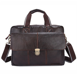 briefcases men UK - Fashion 15 Inch Laptop Bag Male Genuine Leather Briefcase Men Travel Business Bag Office Documents Bags For Male