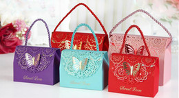 Paper Bags Designs Australia - Candy box bag chocolate paper gift package for Birthday Wedding Party favor Decor supplies DIY handbag butterfly design
