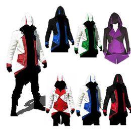 Moda elegante Assassins Creed 3 III Conner Kenway Ezio Casaco Com Capuz Casaco Anime Cosplay Traje do Assassino Cosplay Overcoat