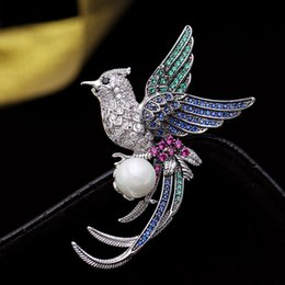 branded brooch 2020 - Brand Designer Fashion Bird Brooches Pins For Wedding 2019 New Luxury Cubic Zirconia Pearl Brooch Jewelry Wholesale disc