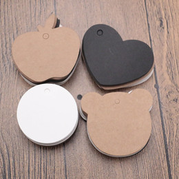diy clothes tags NZ - 500Pcs 4 Size DIY Bear Apple Love Round Shape Kraft Paper Tags Label For Clothing Hang DIY Gift Christmas Wedding Party