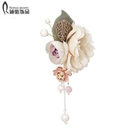 Cloth Bouquet Australia - Antique Gold Handmade Cloth Flower Brooches for Women Wedding Bridesmaid Party Bouquet Brooch Pin Corsage Christmas Gifts