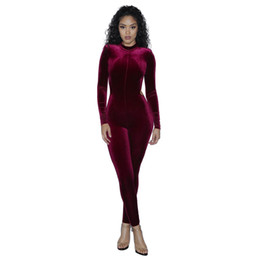 $enCountryForm.capitalKeyWord UK - New Arrival Velvet Jumpsuits Long Sleeve Backless Skinny Bodycon Jumpsuits Sexy Women Big Hollow Out Jumpsuits Perfect for Club