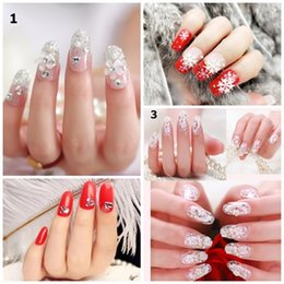 e133a08e21 Glitter tip fake nails online shopping - Hot set False Nails Shining  Glittering Fake Nails Bride