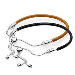 925 sterling silber armband momente leder mit einstellbarer schließe armband armreif fit perle charme diy schmuck