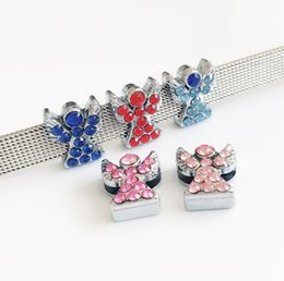 name beads wholesale NZ - 10PCs 8MM Full Rhinestone Angel Slide Charms Beads Fit DIY 8MM Pet Collar Name Belts Wristbands Bracelets