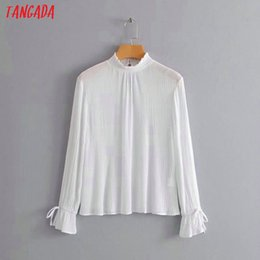 4ec74ea6ca2 Tangada korea spring fashion ruffle blouses sexy white Coon shirts for women  Draped ladies tops blusas femininas TL08