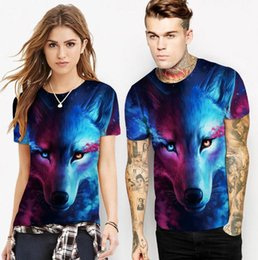 $enCountryForm.capitalKeyWord NZ - Europe and the United States big fashion wolf pattern digital printing spring short-sleeved T-shirt street wind casual sports shirt men
