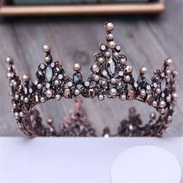 China Vintage Crystal Black Round Baroque Tiaras and Crowns Headdress For Women or Men Bridal wedding Head Jewelry Accessories X912 supplier man crowns suppliers