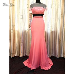 Cheap Sexy Suits NZ - Ghands 2017 New Cheap Trumpet Beading Jersey Tow Peice Suit Plus Size Formal Gowns Court Train Evening Party Cocktail Dresses Customize