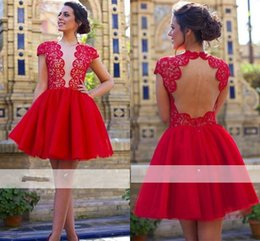$enCountryForm.capitalKeyWord Australia - Red Ball Gown Short Prom Dresses Sheer Jewel Neck Cap Sleeve Hollow Back Lace Top 2018 Party Evening Gowns Cocktail Dress Homecoming Wear