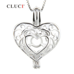 $enCountryForm.capitalKeyWord Australia - CLUCI women jewelry vintage Patterned Heart necklace pendant in 925 sterling silver locket wish pearls metal cage pendant 3pcs S18101607