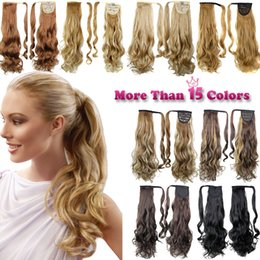 long curly hair piece ponytail 2019 - Wholesale Ponytail Hair Pieces Synthetic Hair Long Cruly Clip In Ribbon Ponytail Hair Long curly Hairpiece Fake discount